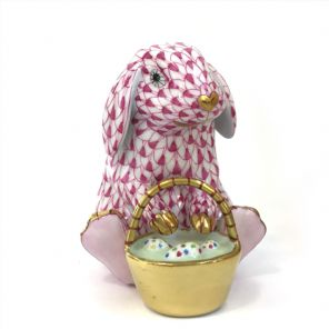 Herend Porcelain Fishnet Figurine of a Bunny With Basket